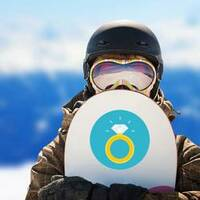 Gold Diamond Ring Sticker on a Snowboard example