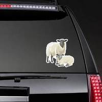 Illustration Of A Sheep With A Lamb Sticker