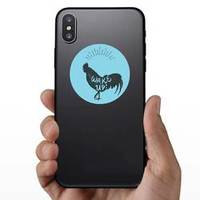 Rooster Chicken Hand Drawn Silhouette Wake Up Sticker example
