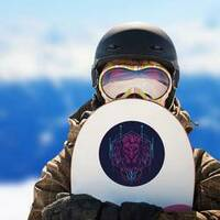 Geometric Sacred Lion Sticker on a Snowboard example