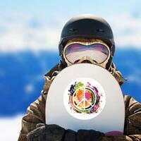 Paint Splatter Peace and Love Hippie Sticker on a Snowboard example