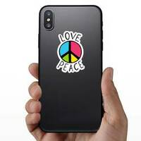 Love And Peace Colorful Hippie Sticker on a Phone example