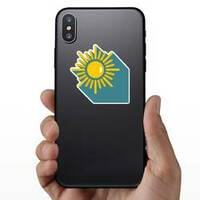 Sun with Shadow Sticker on a Phone example