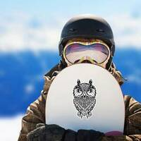 Wise Old Owl Illustration Sticker on a Snowboard example