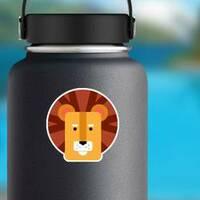 Cute Kids Lion Head Sticker on a Water Bottle example