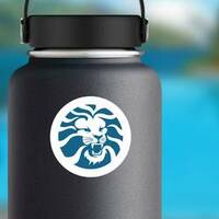 Angry Lion Head Circle Sticker on a Water Bottle example