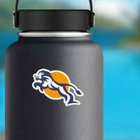 Charismatic Jumping Lion Logo Sticker on a Water Bottle example