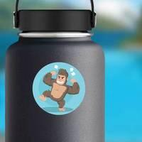 Angry Gorilla Illustration On Blue Sticker