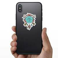 Boho And Hippie Style Free Life Sticker on a Phone example