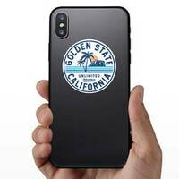 California, Golden State Text Circle Sticker on a Phone example
