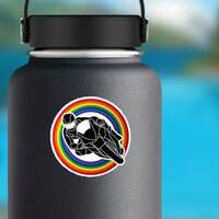 Motorcycle Racing Through Rainbow Sticker on a Water Bottle example