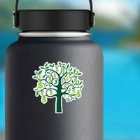 Illustration of Dollar Sign Money Tree Sticker on a Water Bottle example