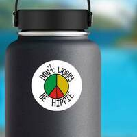 Don't Worry, Be Hippie Rasta Circle Sticker on a Water Bottle example