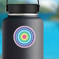 Colorful Hippie Mandala Sticker on a Water Bottle example