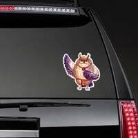 Watercolor Hawaii Dance Owl Sticker on a Rear Car Window example