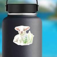 Cute Little Lamb On Watercolor Illustration Sticker