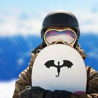 Flying Winged Dragon Cutout Sticker on a Snowboard example