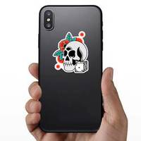 Skull With Red Flower And Dice Sticker