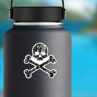 Tattered Skull and Bones Pirate Sticker on a Water Bottle example