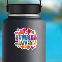 Hippie Summer Lovin Sticker on a Water Bottle example