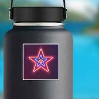 Three Shining Neon Stars Sticker on a Water Bottle example