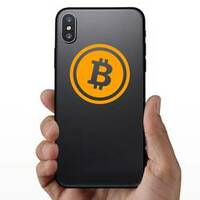 Crypto Currency Bitcoin Sticker on a Phone example