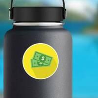 Dollar Bills Yellow Circle Sticker on a Water Bottle example