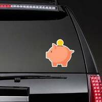 Piggy Bank With Single Coin Sticker on a Rear Car Window example