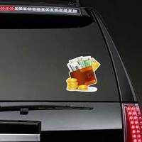 Leather Wallet with Lots of Money Sticker on a Rear Car Window example