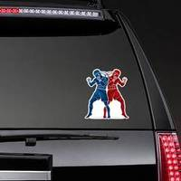 Thai Boxing Standing Action Design Red And Blue Sticker example