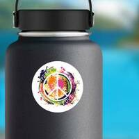 Paint Splatter Peace and Love Hippie Sticker on a Water Bottle example