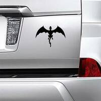 Strong Black Dragon In Flight Sticker on a Car Bumper example