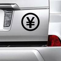 Standard Yen Symbol Sticker on a Car Bumper example
