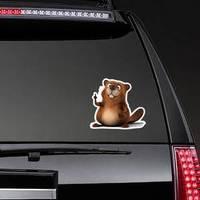 Big Beaver Cartoon Holding Up A Finger Sticker