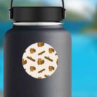 Pattern Of Cartoony Beaver And Log Sticker