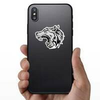 Cartoon Growling Grey Wolf Head Sticker on a Phone example
