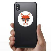Fox Wearing Bowtie and Sunglasses Sticker on a Phone example