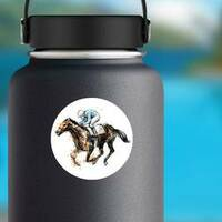 Watercolor Derby Horse Sticker on a Water Bottle example