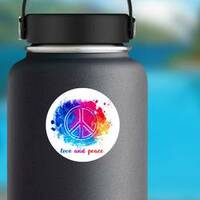 Hippie Love and Peace Colorful Watercolor Sticker on a Water Bottle example