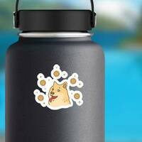 Doge Coin Illustration Sticker on a Water Bottle example
