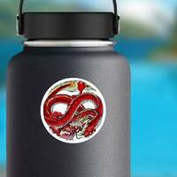 Infinity Red Dragon Circle Sticker on a Water Bottle example
