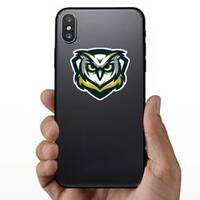Gold, Yellow And Blue Owl Mascot Sticker on a Phone example