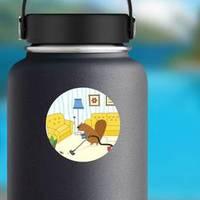 Cartoon Character Beaver Vacuums The House Sticker