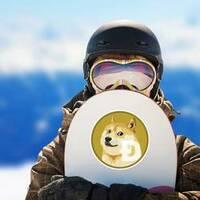 Standard Dogecoin Sticker on a Snowboard example