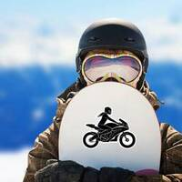 Woman on Motorcycle Silhouette Sticker on a Snowboard example