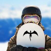 Strong Black Dragon In Flight Sticker on a Snowboard example