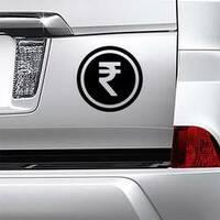 Rupee Coin Sticker on a Car Bumper example