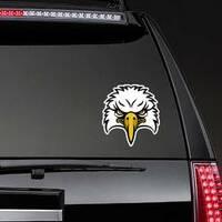 Cartoon Eagle Head Sports Mascot Sticker on a Rear Car Window example