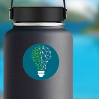 Green Light Bulb With Leaves Sticker