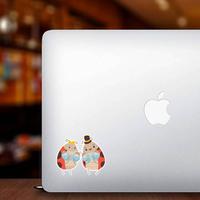 Happy Ladybug Family Four Newborn Babies Sticker